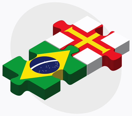guernsey: Brazil and Guernsey Flags in puzzle isolated on white background