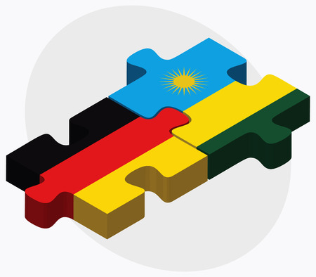 kigali: Germany and Rwanda Flags in puzzle isolated on white background