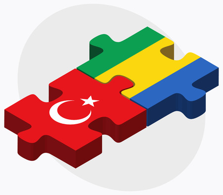 eurasian: Turkey and Gabon Flags in puzzle isolated on white background