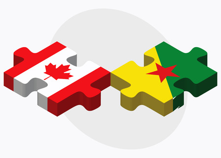 french guiana: Canada and French Guiana Flags in puzzle isolated on white background Illustration