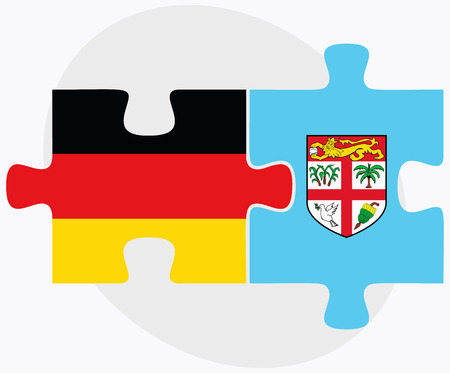 fijian: Germany and Fiji Flags in puzzle isolated on white background Illustration