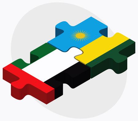 kigali: United Arab Emirates and Rwanda Flags in puzzle isolated on white background Illustration