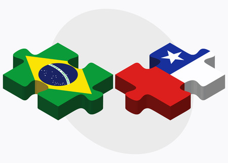 federative republic of brazil: Brazil and Chile Flags in puzzle  isolated on white background Illustration