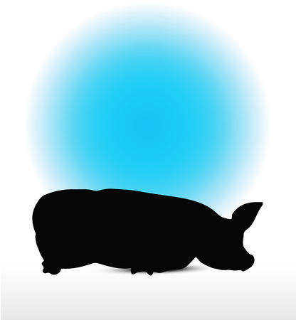 squealer: Vector Image, pig silhouette, in Lay flat pose, isolated on white background Illustration