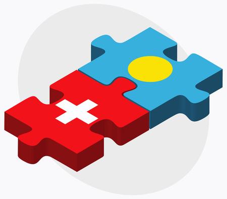 palau: Switzerland and Palau Flags in puzzle isolated on white background