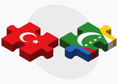 comoros: Turkey and Comoros Flags in puzzle isolated on white background