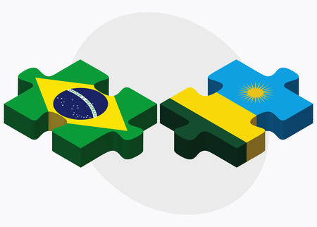 kigali: Brazil and Rwanda Flags in puzzle isolated on white background Illustration