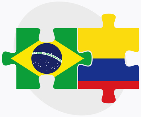 Brazil and Colombia Flags in puzzle isolated on white background