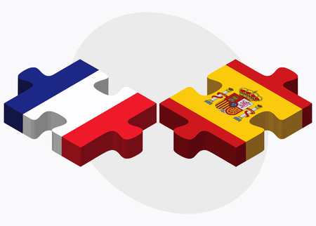 nations: France and Spain Flags in puzzle isolated on white background Illustration