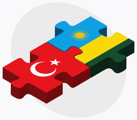 rwanda: Turkey and Rwanda Flags in puzzle isolated on white background Illustration