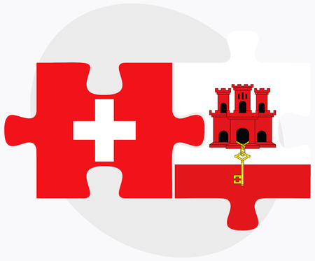 gibraltar: Switzerland and Gibraltar Flags in puzzle isolated on white background Illustration
