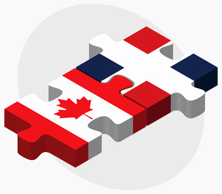 dominican republic: Canada and Dominican Republic Flags in puzzle isolated on white background