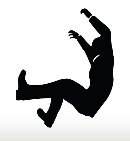 suspended: illustration in silhouette of  businessman underhanging