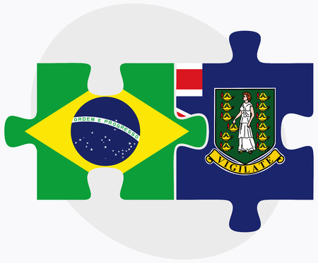virgin islands: Brazil and Virgin Islands (British) Flags in puzzle isolated on white background