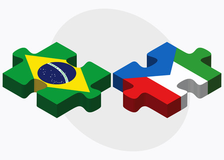 guinea equatoriale: Brazil and Equatorial Guinea Flags in puzzle isolated on white background
