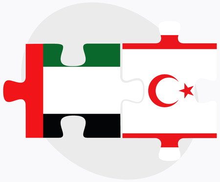 arab flags: United Arab Emirates and Turkish Republic of North Cyprus Flags in puzzle isolated on white background Illustration