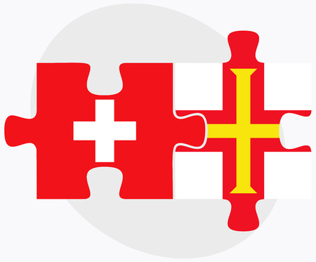 guernsey: Switzerland and Guernsey Flags in puzzle isolated on white background