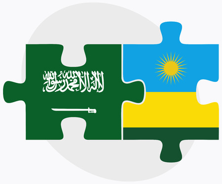 kigali: Saudi Arabia and Rwanda Flags in puzzle isolated on white background