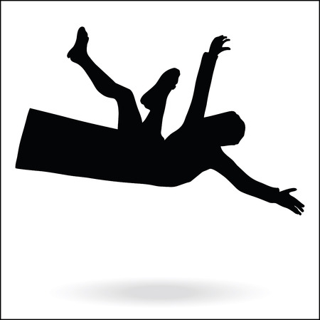 falling man: middle east style dressed man silhouette  -  in falling pose