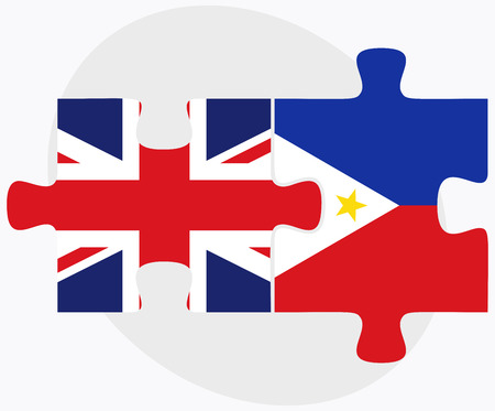 filipino: United Kingdom and Philippines Flags in puzzle isolated on white background