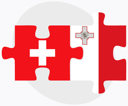 malta: Switzerland and Malta Flags in puzzle isolated on white background