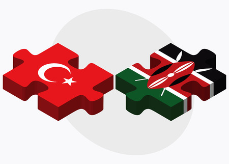 eurasian: Turkey and Kenya Flags in puzzle isolated on white background