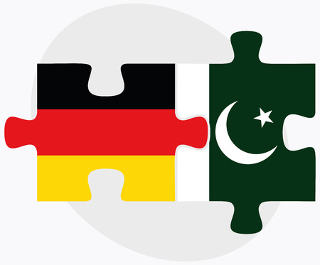 Germany and Pakistan Flags in puzzle isolated on white background