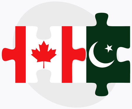 islamabad: Canada and Pakistan Flags in puzzle isolated on white background
