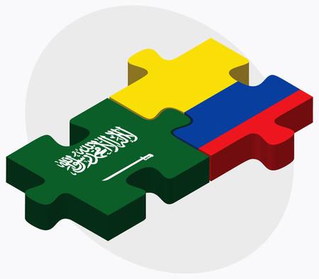 republic of ecuador: Saudi Arabia and Ecuador Flags in puzzle isolated on white background