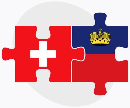 liechtenstein: Switzerland and Liechtenstein Flags in puzzle isolated on white background