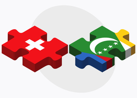 comoros: Switzerland and Comoros Flags in puzzle isolated on white background