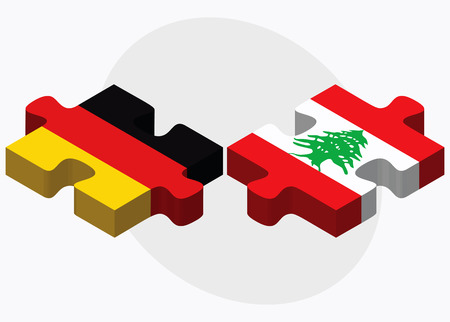 lebanese: Germany and Lebanon Flags in puzzle isolated on white background