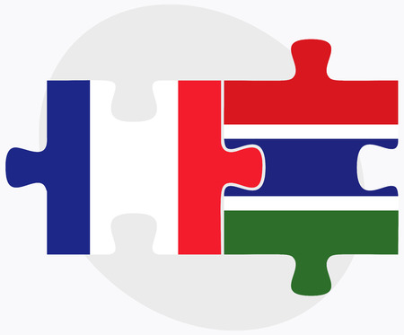 gambia: France and Gambia Flags in puzzle isolated on white background Illustration