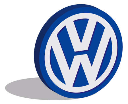 editorial: ISTANBUL, TURKEY - OCTOBER 21, 2015: Volkswagen logotype in 3d form and placed on white background. Volkswagen is a German car manufacturer headquartered in Wolfsburg, Lower Saxony, Germany. Established in 1937.