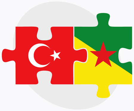 french guiana: Turkey and French Guiana Flags in puzzle isolated on white background