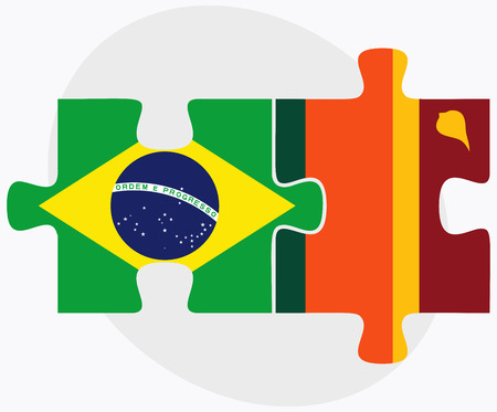 sri lankan flag: Brazil and Sri Lanka Flags in puzzle isolated on white background