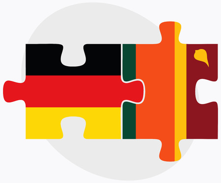 sri lankan flag: Germany and Sri Lanka Flags in puzzle isolated on white background
