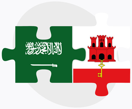 gibraltar: Saudi Arabia and Gibraltar Flags in puzzle isolated on white background
