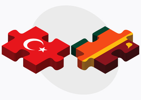 sri lankan flag: Turkey and Sri Lanka Flags in puzzle isolated on white background
