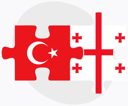 eurasian: Turkey and Georgia Flags in puzzle isolated on white background