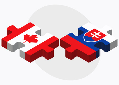 slovakian: Canada and Slovakia Flags in puzzle isolated on white background