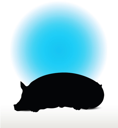 grunter: Vector Image, pig silhouette, in Lay pose, isolated on white background