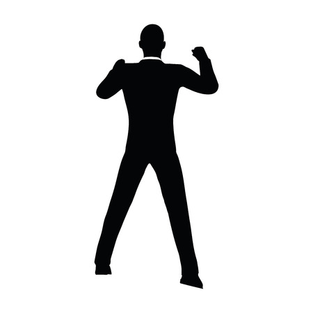 thriving: Vector Image - businessman silhouette in gorilla pose isolated on white background