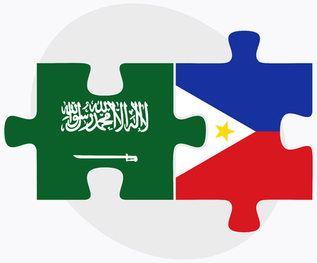 filipino: Saudi Arabia and Philippines Flags in puzzle isolated on white background Illustration