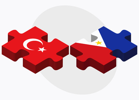 manila: Turkey and Philippines Flags in puzzle isolated on white background