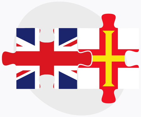 guernsey: United Kingdom and Guernsey Flags in puzzle isolated on white background