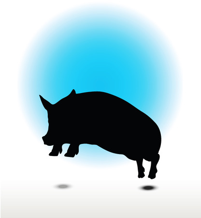 Vector Image, pig silhouette, in Jump pose, isolated on white background