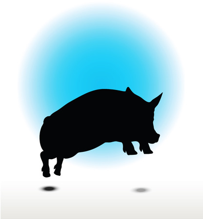 grunter: Vector Image, pig silhouette, in Jump pose, isolated on white background