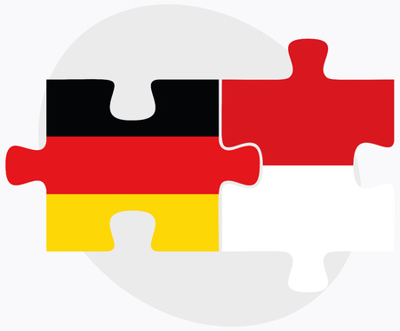 monegasque: Germany and Monaco Flags in puzzle isolated on white background