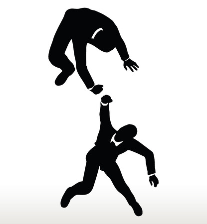 lend a hand: silhouette of two businessmen team holding on with a helping hand